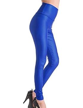 Mxssi Señoras de Las Mujeres de Talle Alto de imitación de Cuero Mojado Mirada Pantalones de Cintura Alta Cintura