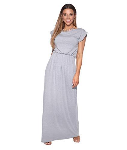 KRISP 3269-GRY-10 Damen Leichtes Kleid (Grau, Gr.38) - Lang Den Sommer Kleid Für