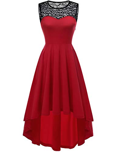 YOYAKER Damen Vintage Retro Spitzen Rundhals Ärmellos Cocktail Party Abendkleider Red M