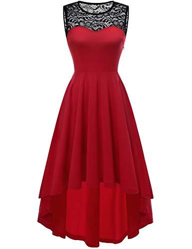 YOYAKER Damen Vintage Retro Spitzen Rundhals Ärmellos Cocktail Party Abendkleider Red XL