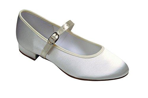 Blanc ou ivoire satiné et sangle 10 tailles de chaussures à 3 Blanc - blanc