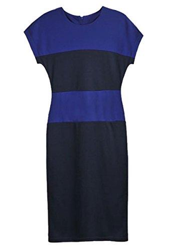 E-Girl Blau Style Color Block Stripe Midi Pencil Kleid.,Blau Blau