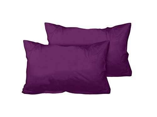 Doble pack Fundas de almohada de sanforisiertem de algodón jersey para bajo precio–En sutiles Diseño–12Decoración de colores y 5tamaños, morado, 40 x 60 cm