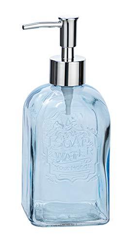 Wenko 23614100 Vetro-Dispensador de jabón líquido (Rectangular, 0,5 L, Cristal, 7,5 x 19 x 7,5 cm), Color Azul, 7.5 x 19 x 7.5 cm