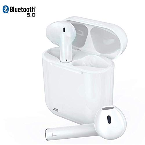 XDE Bluetooth Kopfhörer, upgraded Mini Wireless In Ear Headset Bluetooth 5.0, 360H In-Standby-Headset mit eingebautes Mikrofon und kompatibel mit Android/IOS Weiß