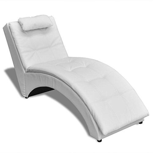 Festnight Kunstleder Chaiselongue Liegesessel Relaxliege Sessel Loungeliege mit Kissen Liegekomfort Weiß