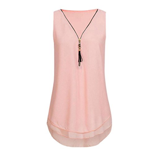 JUTOO Women Loose Flowers Chiffon Sleeveless Tank V-Neck Zipper Hem Scoop TShirts Tops(AA-Rosa, EU:46/CN:XL) -