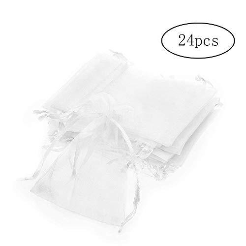 lity White Drawstring Organza Geschenk Taschen Durable Wedding Party Favor Taschen Semitransparent Wiederverwendbare Schmuck Beutel 24pcs ()