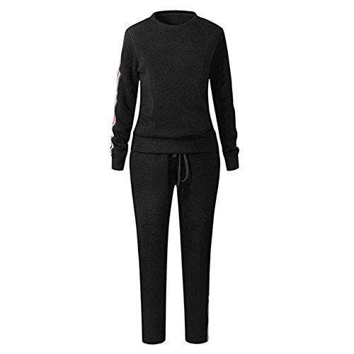 Femmes Trackus Sweat-Shirt Ensemble Longue Manche Arrêtez-Vous Sport Sweatshirt + Pantalons Survêtement Joggings Pantalon Tenue Sport Décontractée Joggeur Gym Plein Air Sport Vêtements Highdas Noir