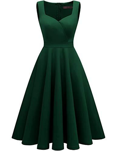 Ausschnitt Cocktail (Dresstells Midi Rockabilly Kleid 1950s Retro V-Ausschnitt Cocktail Swing Kleid Sommerkleid DarkGreen XS)