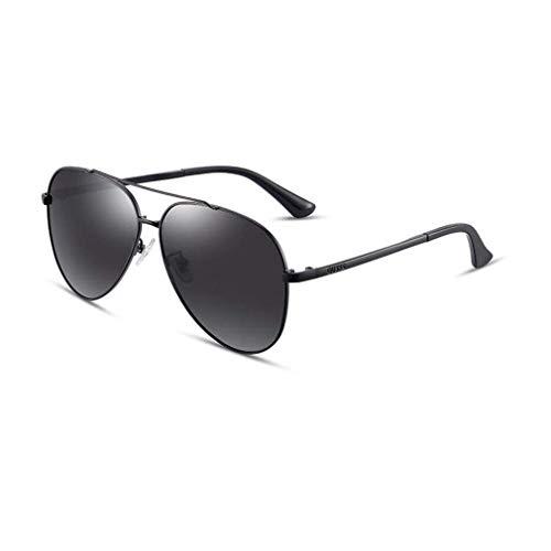 KISlink Aviator Sonnenbrille Herren Polarized Mirror - UV 400 Schutz 63MM , Unisex (Farbe: Schwarz/Schwarz Grau)