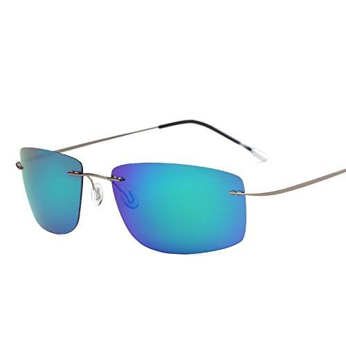 MinegRong Fall polarisiert Titan Silhouette Sonnenbrillen Polaroid Marke Designer Gafas Men Square Sonnenbrillen Sonnenbrillen für Männer Frauen, ZP 5447 mit Case C4
