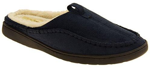 Herren-Kühler Faux-Veloursleder-Wolle-Effekt aufgefüllte Maultier-Hausschuhe Blau