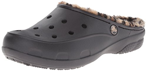 Crocs freesailleopardlined, pantofole a collo basso donna, nero (black/gold), 41-42 eu