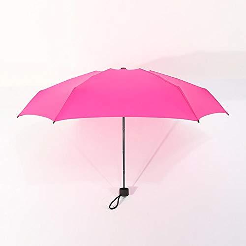 rer Sonnenschirm für den Außenbereich, Ultraleicht, Mini-UV-Schutz, Mehrfarbig, Sonnenschutztasche, faltbar, Reise-Regenschirm mit bequemem Griff und Silikonband, hot pink ()