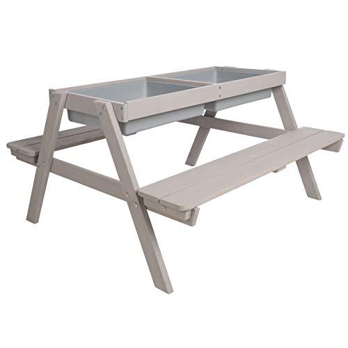 roba Kinder Outdoor Sitzgruppe mit Spielwannen, Sitzgarnitur mit 2 Bänken und 1 Tisch aus Holz für drinnen und draußen, wetterfest, grau lasiert