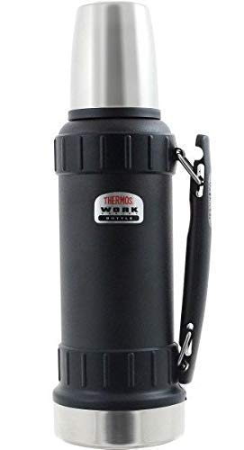 Thermos Isolierflasche Work TherMax Robuste Thermoskanne 1,2 l, schwarz Edelstahl work series -