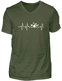 Shirtee Battito del Cuore Batterista La Batteria Strumento Musicale  Bacchette di Batteria - Camicia Maschili con e61c6f2c81e3