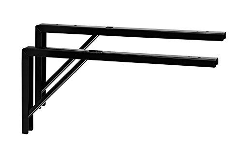 Gedotec Regal-Konsole schwarz Regalträger Metall Regalwinkel für die Tisch & Wand-Montage | Regalhalter Stahl schwarz beschichtet | 400 x 30 x 180 mm | 2 Stück - Winkel-Konsole zum Schrauben (Konsolen Für Regal)