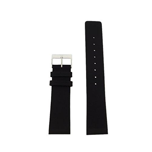 Skagen Uhrband Wechselarmband LB-233XXLSLR Ersatzband 233XXLSLR Uhrenarmband Leder 22 mm Schwarz-Sil