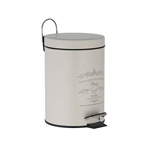 Treteimer 3 Liter in altweiß Mülleimer ALS Abfalleimer, Kosmetikeimer für Badezimmer + Küche aus Metall mit Frontdruck - Mülleimer mit Deckel