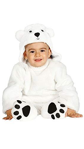 shoperama Eisbär Baby Kleinkind Plüsch Kinder-Kostüm Polarbär Overall Mütze Mädchen Jungen warm Karneval Verkleidung, Größe:12 bis 24 Monate
