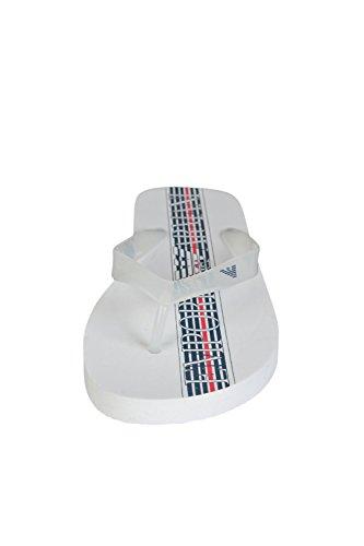 Emporio Armani Herren Gummi Flip Flops Zehentrenner Sandalen Weiß Weiß