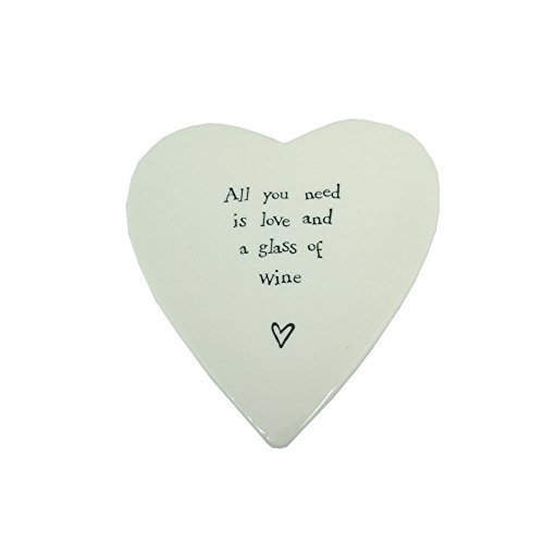 TODO lo que necesitas es amor y un vaso de vino posavasos de porcelana corazón width=