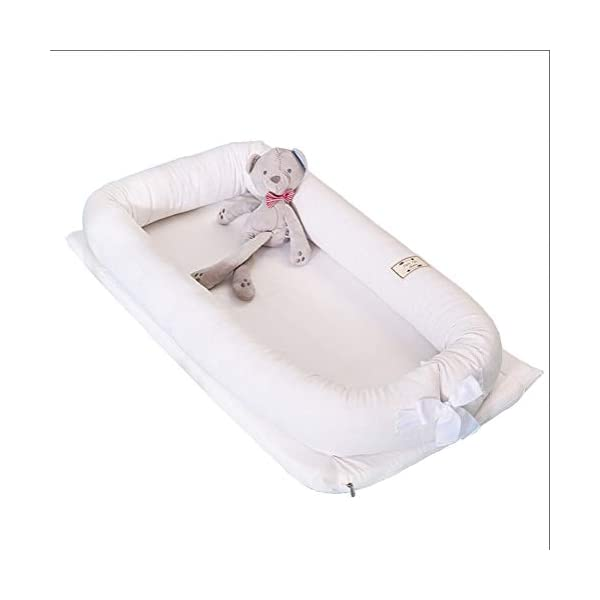 LNDD-Bionic Uterine Bed Baby Lounger 2 in 1 Sleeping Nest Pods Travel Bumpers Cradle Mattresses Suitable for Newborn Children Aged 0-1,White LNDD ★BABY COT: refreshing breathable, stretch fabric, fence protection, bionic design ★REMOVABLE: The jacket has a zipper design, and the refreshing installation is more worry-free. ★SIZE: length 99cm * width 55cm * height 15cm (suitable for 0-1 pairs of babies). 1