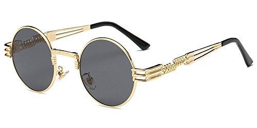 BOZEVON Estilo retro Steampunk inspiró gafas sol