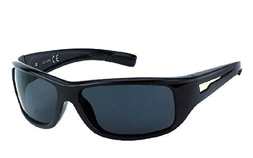 KOST Sportliche polarisierte Sonnenbrille UV400 Cat.3 Sunglases für SIE & IHN M1 schwarz Linsen grau