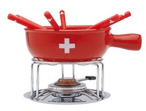 Nouvel Käsefondue Set für 6 Personen - Hochwertiges 10-teiliges Fondueset Käse - «CH-Kreuz» Schweizer Stil - Großer Caquelon mit 6 Fondue-Gabeln Füllmenge max. 2,3 Liter