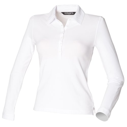 Skinni Fit Damen Polo Shirt Stretch Langarm (Medium) (Weiß)