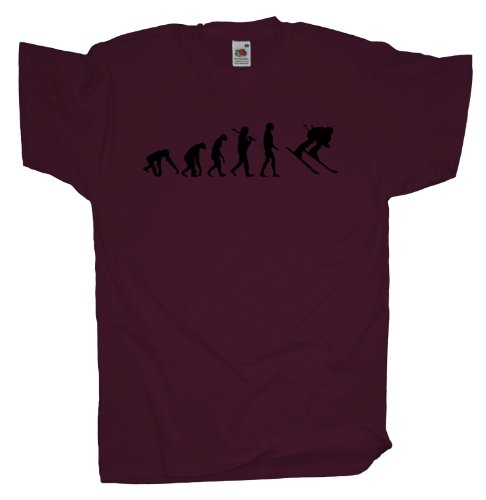 Ma2ca - Evolution - Skifahrer Ski T-Shirt Burgundy