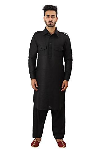 Thaath Men's Black Pathani Kurta Pyjama Set (Eid Collection)
