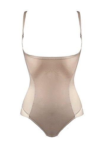 Diemme intimo body shapewear donna tessuto seamless push up glutei e seno contenitivo pancia e addome. trasparenze in tulle. tassello regolabile. una taglia in meno (xl/xxl, bianco)