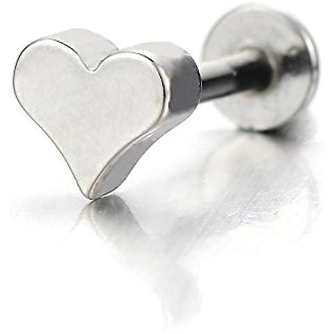Corazón Acero Inoxidable Labio Piercing Labret Monroe Tragus Joyas para el Cuerpo