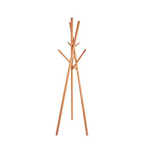 anaan \'9\' Design Kleiderständer Holz Garderobenständer Massivholz Stabil mit 9 Haken modern, benötigt Keine Schraube, kein Werkzeug, H/B/T ca. 174x51x51cm (9 Holzstöcken Buchenholz)