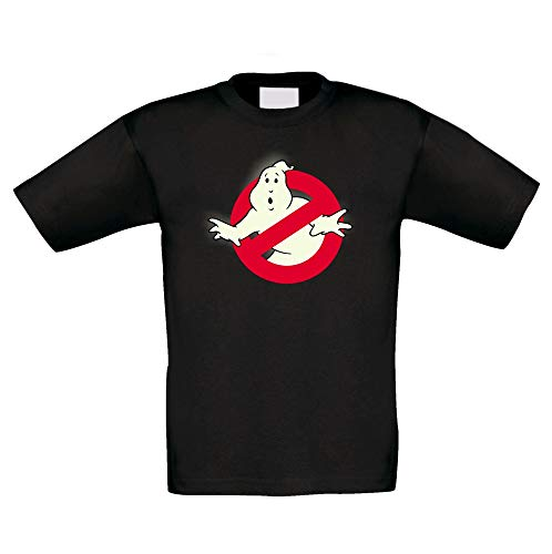 Shirtdepartment - Kinder T-Shirt - Glow - Ghost Busters schwarz-Glow 122-128 (Kinder Slimer Kostüm)