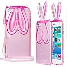 Phone Kandy® Suave cubierta del gel de TPU transparente claro con la cuerda de seguridad y para soporte oídos lindos del conejito de la caja del silicón del gato del gatito carcasa funda (iPhone 5 5s, conejito - Rosado)