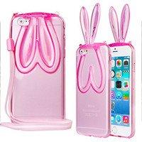 Phone Kandy® Doux TPU Clear Cover Gel transparent avec Lanyard & stands des oreilles de lapin mignon étui en silicone Cat Kitty coque (iPhone 7 Plus (5.5 inch), lapin - Rose)
