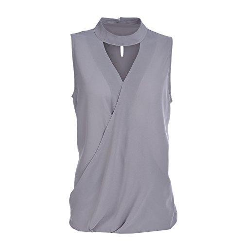Blooming Jelly Damen Tops Choker Elegant Wrap Halo V-Ausschnitt Chiffon Ärmellos T-Shirt Bluse (Out-Ärmelloses T-shirt)