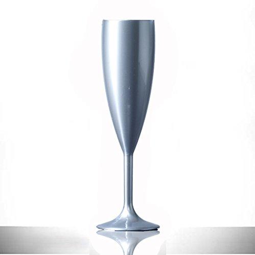 Argent Plastique Polycarbonate flûtes à champagne, Lot de 12, 187,1 gram, verre en plastique de qualité alimentaire – Réutilisez des Centaines de fois | pratiquement incassable – rigide en polycarbonate