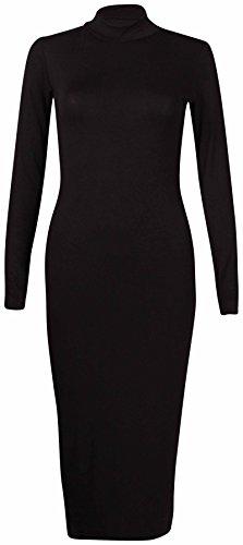 À Manches Longues Pour Femmes Femme Extensible Tortue Polo Encolure Robe Moulante Uni Haut Tunique Long Noir