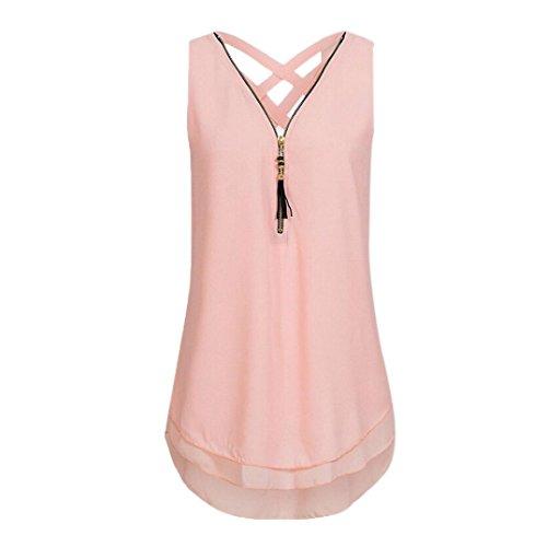 Sanfashion, tank top da donna, estivo, senza maniche, senza orlo, senza chiusura a lampo, con scollo a v rosa m