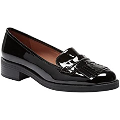 next Mujer Zapatos Zapatillas Mocasines Con Adorno De Flecos De Charol