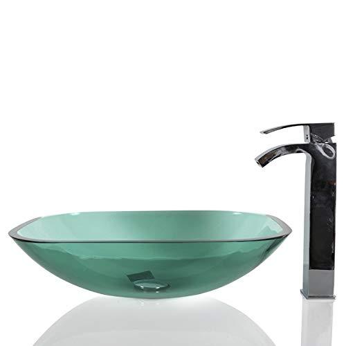 Waschbecken aus Glas, rund, quadratisch, 37 x 48 x 13 cm, Türkis/Grün