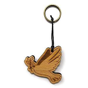 Schlüsselanhänger Friedenstaube Taube aus Holz optional mit individueller persönlicher Gravur !