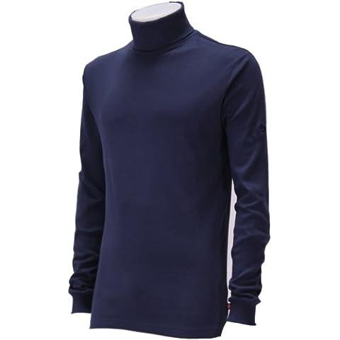 Medico - Dolcevita da sci, per uomo, con chiusura a zip sul collo, maniche lunghe, 100% cotone, blu medio (blu navy), 48