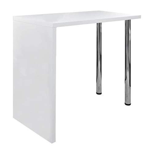 vidaXL Mesa de bar alta con dos patas - color blanco brillante